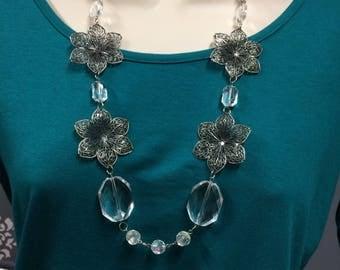 Brass Flower Necklace, Filigree Flower Pendant, Flower and Crystal Chandelier Necklace