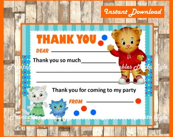 Daniel Tiger Cards, Daniel Tiger Thank you tags instant download, Printable Daniel Tiger party Thank you Note