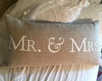 Large Lumbar Mr. & Mrs. Sparkle Burlap Wedding Pillow Scripted