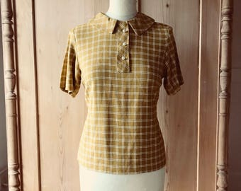 1950s-60s mustard coloured linen preppy blouse with Peter Pan collar