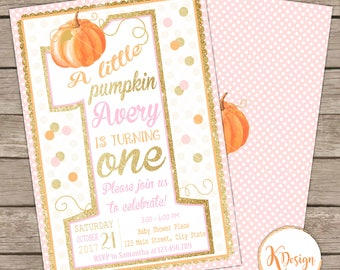 Pumpkin First Birthday Invtation, Halloween Birthday, Pumpkin 1st Birthday Invitation, Fall Printable Invitation