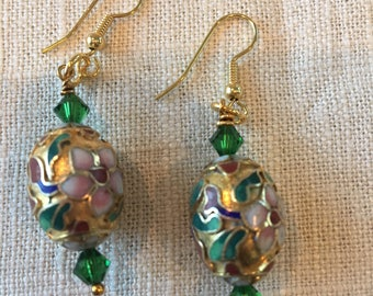 Vintage cloisonné earrings with red or green Swarovski crystals