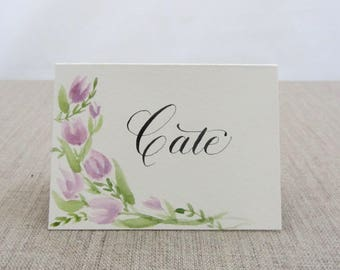 Hand painted and calligraphed place cards