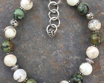 African & White Turquoise bracelet, Gemstone bracelet, Silver bracelet, Adjustable Gemstone Bracelet, Turquoise bracelet