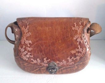 """Vintage Leather Purse Hand Bag 60's & 70's Handmade Stamped Flowers - 11.5"""""""