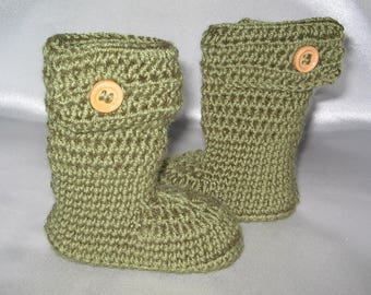 Warm baby boots olive with wool foot approx. 9.5 cm ca. gr. 15/16