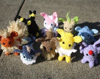 Crochet Pokémon All Eevee Evolutions, Eevee, Vaporeon, Flareon, Jolteon, Espeon, Umbreon, Leafeon, Glaceon, Sylveon Amigurumi