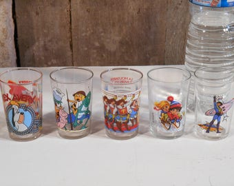 Five Vintage Glass Tumblers, French Vintage, French collectables