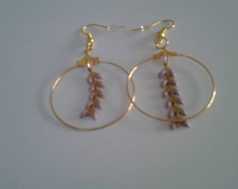 Earrings hoop earrings with purple pattern