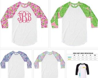 Lilly Raglan Monogram Shirt, Lilly Pulitzer style Custom Women's T-shirt, Personalized Raglan, Monogram 3/4 Sleeve Lilly Raglan, Custom Tee