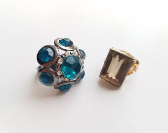 Classic 1970's Fashion - Vintage Cocktail/Statment Rings - Large Blue Multi Stone Bohemian Floral Ring and Large Yellow Square Stone Ring