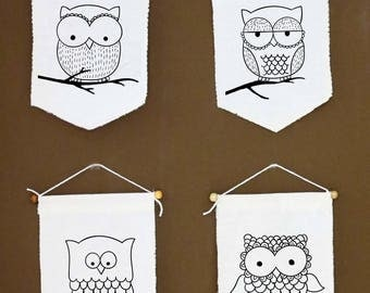 4(four) Cute Owl Decor, Wall Art,  Owl Wall Furniture