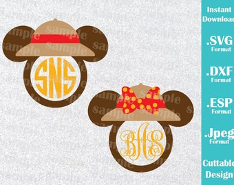 INSTANT DOWNLOAD SVG Disney Inspired Mickey Minnie Safari (Font, monogram Not included) Cutting Machines Svg Esp Dxf, Jpeg Cricut Silhouette