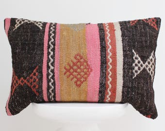 Turkish Kilim Pillow Cover Fabric Turkey Kilim Cushion Colorful Pillowcase Boho Style Bohemian Decorative Vintage Pillow