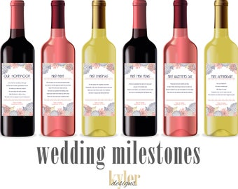 PRINTABLE Custom Flower Wedding Milestone Wine Labels ~ Unique Wedding Gift and Bridal Shower Gift