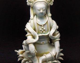 Ancient Yuan Dynasty Qingbai Porcelain Ceramic Goddess of Mercy Guanyin Kwan Yin Sculpture Statue Figurine