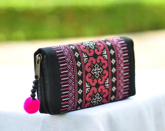 Medium Sized Handmade Cotton Purse /Hmong Purse / Hill tribe Bag / Handmade Wallet /Hill Tribe Purse / Hmong Wallet / Thai Bag /Colorful Bag