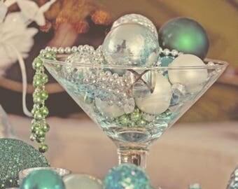 Martini glass centerpiece wedding elegant pearls