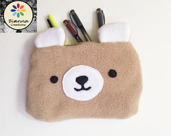 """9x6"""" Kawaii Caramel Bear Face Pouch, Japanese Anime Lover Animal Pen Pencil Storage, MakeUp Cosmetic Bag, 3DS Kitty Travel Buddy Case"""