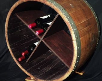 Old Wine Barrel Cross-Rack Wine Cabinet for Wine Storage and Display