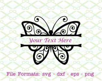 BUTTERFLY Svg, Split Monogram Butterfly Frame SVG, Dxf, Eps, Png. Digital Cut Files for Cricut, Silhouette; Split Monogram Svg, Split frame