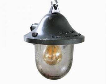 Cast iron industrial bully lamps - explosion proof lamps - vintage industrial lamps - industrial pendant lights - vintage bunker lamps