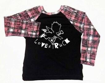 Punk Rock Cupid Raglan Grunge Plaid Love Struck Red Baby Toddler Boy Girl Trendy Modern Shirt Long Sleeve