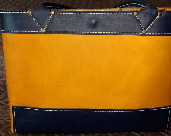 Featured listing image: Sunset and Navy Leather Tote