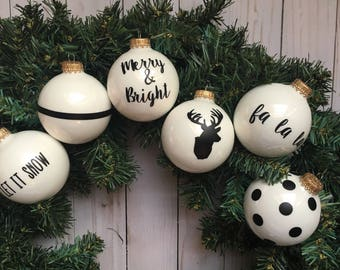 Black and White Christmas Ornament Set, black and white ornaments,