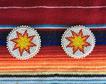 Two Native American hand beaded patches