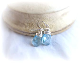 Aquamarine blue Swarovski crystal and silver wire wrapping earrings, sterling silver jewelry