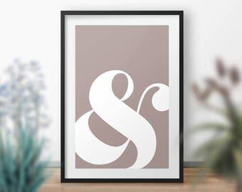 Ampersand Wall Art typography art print ampersand sign home decor minimalist