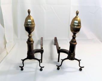 Antique Brass & Steel Fireplace Andirons