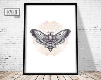 Deaths Head Moth Print, Mandala Art, Wall Art Print, Insect Art, Moth Art, Mandala Print, Minimalist Print, Yoga Wall Art, Yoga Print, Home