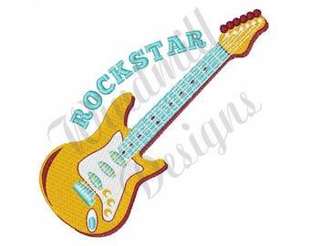 Electric Guitar Rockstar - Machine Embroidery Design