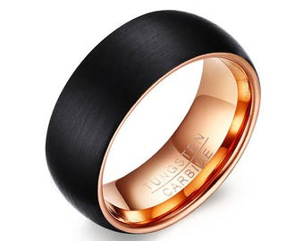 Black Tungsten Wedding Band Rose Gold, Black Tungsten Ring, Black Ring, Promise Ring, Mens Ring, 8mm Comfort Fit Personalized Ring