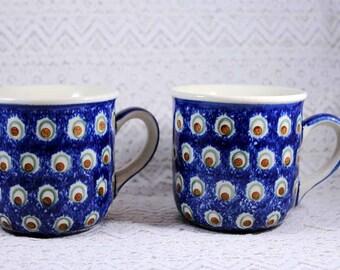 Vintage Pottery Mugs, Wiza-Poland Mugs, Set of 2, Coffee Mugs, Polish Pottery Mugs, Blue and Cream Pattern Mugs