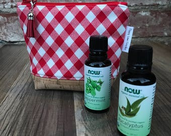 Mini Essential Oil Pouch / Red Gingham Essential Oil bag / Carrier