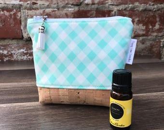 Mini Essential Oil Pouch / Aqua Gingham Essential Oil bag / Mini Carrier