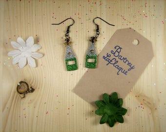 """Bottles of champagne"" wooden earrings"