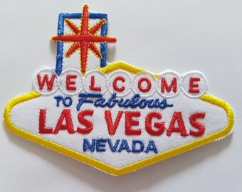 Las Vegas Sign, Welcome to the Fabulous Las Vegas Nevada sign Iron On Patch Sew on transfer Embroidered patch