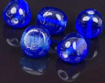 5 triangle 15mm blue glass beads