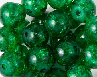 dark green Crackle Glass 8mm 50 beads