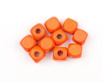 20 orange wooden beads