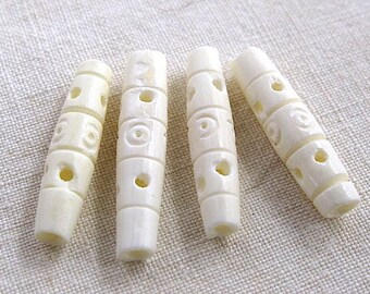 4 beads 26 x 6 mm artisan ethnic carved bone
