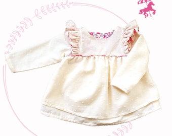 Liberty® baby bougainvillea and long satin sleeves ruffled blouse