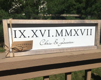 Roman Numeral Custom Wood Sign