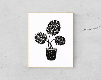 Tropical Leaf Print - Linocut Print - Monstera Leaf Art - Monstera Art Print - Monstera Leaf Print - Monstera Wall Art - Plant Print