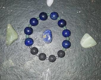 Lapis Lazuli, Clear Quartz and Aventurine diffuser bracelet.