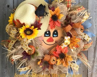 Scarecrow wreath fall wreath autumn wreath fall decor whimsical fall wreath deco mesh wreath Halloween wreath scarecrow hat